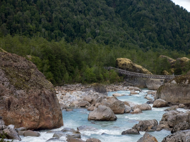 Cool river and bridge to the glacier.