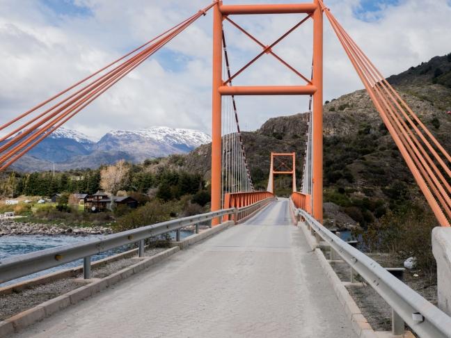 Another orange suspension bridge.
