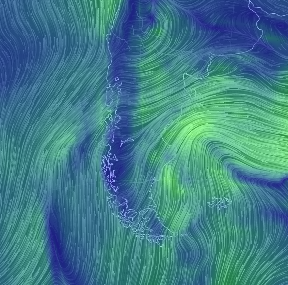 Usually all of those lines are coming from the northwest, or, on Tierra Del Fuego directly from the west.