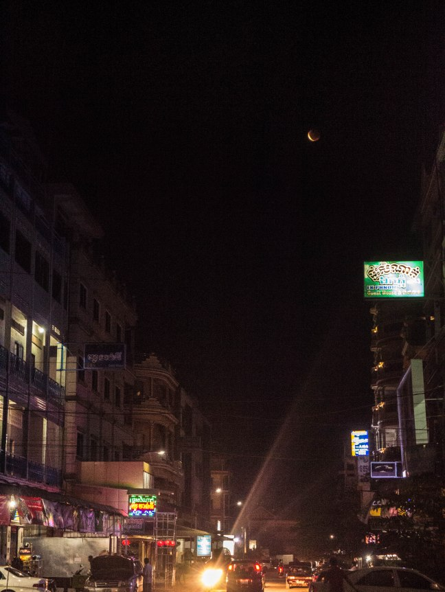 We caught the lunar eclipse one night. I tried rather unsuccessfully to catch it on camera.