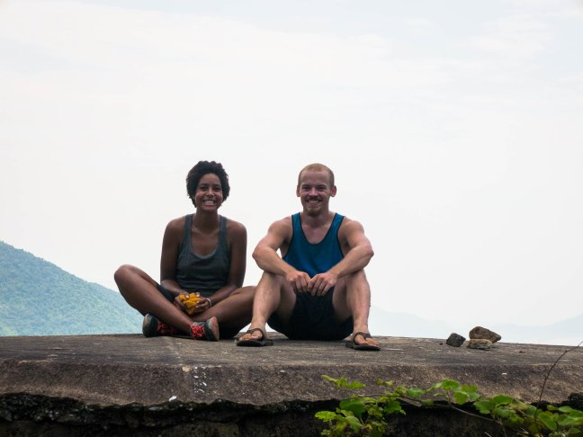 We don't have many pictures together. This one is from the top of the Hai Van Pass. Rocks for artistic touch.